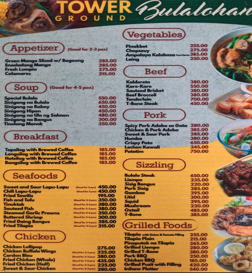tower ground bulalohan menu